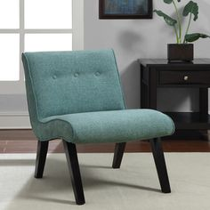 @Overstock.com - Aqua Armless Tufted Back Chair - This contemporary armless tufted chair is sure to make an impression. This chair features sturdy construction, plush foam-filled cushioning for optimum comfort, and an eye-catching modern design sure to make a chic highlight for any room.  http://www.overstock.com/Home-Garden/Aqua-Armless-Tufted-Back-Chair/7990045/product.html?CID=214117 $157.99