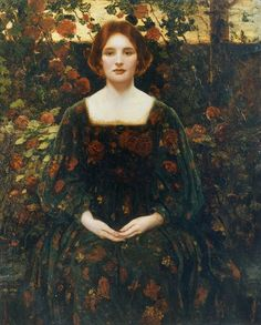 fletchingarrows:      azurea:    Womanhood (1925) by Thomas Edwin Mostyn.      i want this dress. i spent hours yesterday looking at laura ashley dresses i want to own… some of them look a bit like this.