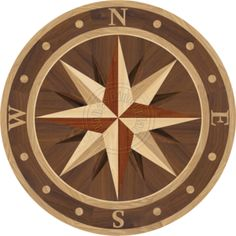 Sailors Compass Medallion Inlay With North