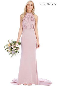 5b4fc84e Halter Neck Fishtail Maxi Dress - Rose Halter Neckline. Maxi Length.  Fishtail Hem. Goddiva