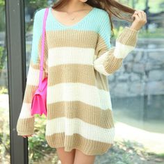 FASHION SPELL COLOR STRIPE LOOSE SWEATER