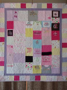 Throw size Patchwork Quilt made from baby by BarbMalmTshirtQuilts, $195.00; Wow this would be one heck of a project but I think I have some pieces I just can't let go of.