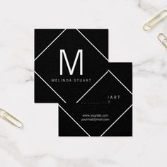 Black and White Modern Monogram Square Business Card. Perfect for a makeup artist, designer, fashion stylist and many other professionals.
