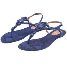 Sandália rasteira pedras - azul