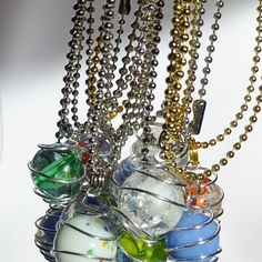 Marble Pendant Necklaces / Cooked Marbles / Fried Marbles / Caged Pendant / Ball Chain Necklace / Wire Wrapped Necklace / Variety