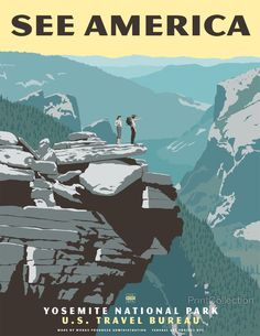 Yosemite National Park, See America Poster by Steven Thomas Vintage National Park Posters, Steve Thomas, Voyage Usa, Tourism Poster, Photo Vintage, Vintage Style, Vintage Inspired, California Camping, Yosemite California