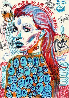 'Tap For A 30 Day Free Trial' by Mr. Art Sketches, Art Drawings, Posca Art, Arte Sketchbook, Funky Art, Hippie Art, Ap Art, Psychedelic Art, Pretty Art