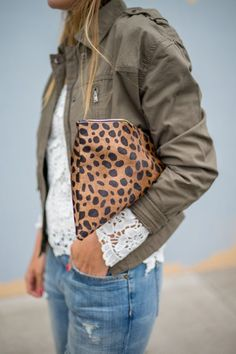 Like the animal print clutch and jacket. Feminine meets utility with  delicate lace and a cargo jacket. 845452ddbed99