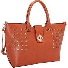 #Handbags, #ManmadeHandbags, #SWGlobal - SW Global Perforated Fashionable Tote Style Shoulder Bag Orange - SW Global Manmade Handbags