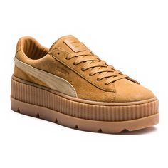 Fenty by Puma Cleated Creeper Suede Sneaker ($160) ❤ liked on Polyvore featuring shoes, sneakers, puma trainers, lace up sneakers, suede shoes, lacing sneakers and laced up shoes