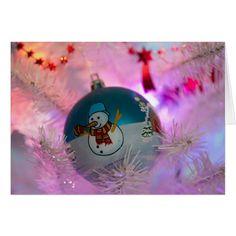 Snowman - christmas balls - merry christmas card #cards #christmascard #holiday