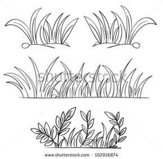 Royalty-Free (RF) Grass Clipart Illustration by colematt - Stock Sample Grass Drawing, Plant Drawing, Drawing Rocks, Outline Drawings, Easy Drawings, Grass Clipart, Grass Vector, Floral Drawing, Chalkboard Art
