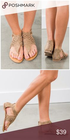 Stone Strappy Sandals Lots of strappy details give these summery flats a boho vibe that will pair perfectly with anything from a breezy maxi dress, to your favorite cuts offs! Man made materials. Fits true to size B Chic Boutique Shoes Sandals