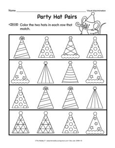 Party Hat Pairs, Lesson Plans - The Mailbox Preschool Circus, Circus Activities, Pre K Activities, Free Preschool, Preschool Lessons, Preschool Worksheets, Educational Activities, Preschool Crafts, Kids Class