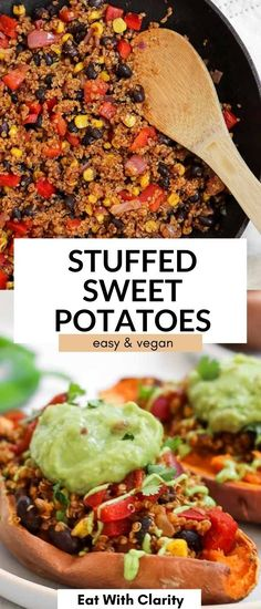 These vegan stuffed sweet potatoes are the perfect family friendly dinner! They're stuffed with black beans and mexican inspired quinoa and topped with guacamole. These stuffed sweet potatoes are full of flavor, easy to make, healthy and perfect for meal prep.