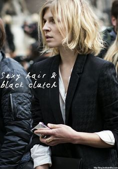Clemence Poesy's sexy hair & black clutch. Read more on www.karinecandicekong.com