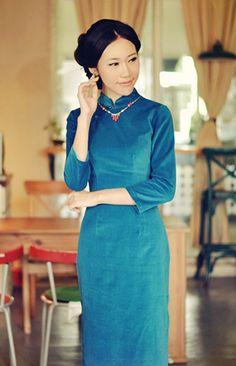 Fall Winter Sleeve Cotton Long Cheongsam,Chinese Dress