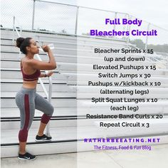 This great circuit workout can be done on any bleachers or stairs. See how fast you can get through this tough fitness challenge! Step Workout, Track Workout, Workout Challenge, Workout Circuit, Workout Diet, Running Challenge, Boxing Workout, Workout Plans, Fitness Workouts