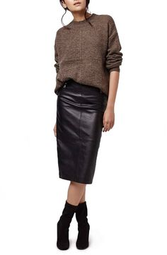 evening date outfits Fall Fashion Outfits, Work Fashion, Chic Outfits, Autumn Fashion, Work Outfits, Style Fashion, Black Leather Pencil Skirt, Leather Midi Skirt, Mode Chic