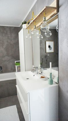 Today with Anna & her dream house in the Austrian Alps - the hit for all gray, neon and black and white lovers - Bathroom light - Diy Bathroom, Bathroom Lighting, Home Design Software Free, Home Design Software, Home Diy, Bathroom Lamp, Home Interior Design, Bathroom Renovation, Bathroom Inspiration