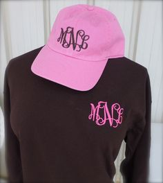 Long sleeve monogram t-shirt.  Brown or navy shirt with pink lettering.