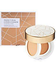 AHC Perfect Dual Cover Balm & Foundation Cushion #21-Light Beige. Covers blemish skin. Cover balm & cushion 2-in-1 care. Skin shimmering & firming care. Contains 10 types of peptide. Triple functional cover cushion for brightening, wrinkle care, and UV protection.