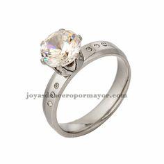 ca409c20c7b8 anillo de noble cristal en acero inoxidable plateado para amante-SSRGG831132