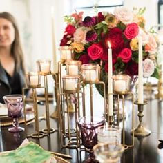 Laura U Interior Design ( Antique Glassware, Thanksgiving Table, Candelabra, Vibrant, Table Settings, Candles, Table Decorations, Interior Design, Antiques