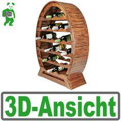 Wein-Regal aus Holz, XXL Wein-Fass Flaschenregal für 28 Flaschen, antikes Design