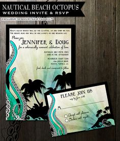 Nautical Beach Wedding invitations featuring an octopus tenticals, waves and tropical island Digital Printable