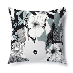The Marimekko Kasvu Grey Throw Pillow is contemporary in a colorway of white, black, grey and blush pink. Maija Louekari achieves rich dimension with layers of flowers, leaves, and other organic shapes