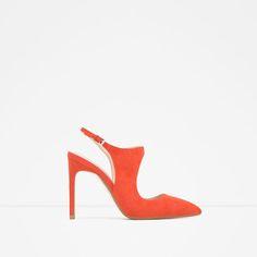 bd46ba39237 Image 1 of SUEDE SLINGBACK HIGH HEEL SHOES from Zara Slingback Shoes