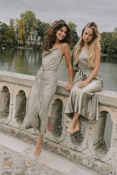 Mismatched Bridesmaid Dresses, Wedding Bridesmaid Dresses, Bridesmaid Dresses Sage Green, Bride Maid Dresses, The Dress, Silk Dress, Sage Green Wedding, Backless Maxi Dresses, Chiffon Dresses