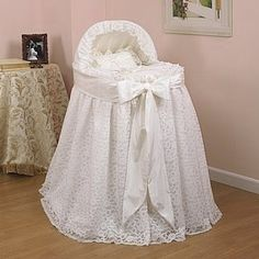 Draped Lace Bassinet, Baby Bassinet Liner At LuxuryLamb.Com - Modern Baby Girl Bassinet, Baby Cribs, Baby Girl Newborn, Baby Boy, Bed Drapes, Baby Layette, Take Home Outfit, Baby Yellow, Baby Needs