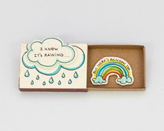 "Cute Fun Encouragement Card Matchbox/ Gift box / Message box ""I Know It's Raining - But There's Rainbow Too""/ OT056"
