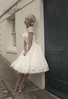 New Short Sleeve Tea Length Lace Wedding Dress Custom Size 4 6 8 10 12 14 16 18+
