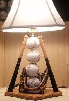 Baseball Table Lamp- Should have done this years ago with my boys baseball stuff. What a treasure !