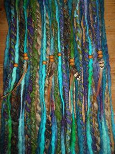 Clip In Dreads Felted Dreadlocks Peacock Blue Wool Felt Locks Festival Weft Clip Tribal Pixie Gypsy Hair Feathers Clip Psy Trance Fairy Elf