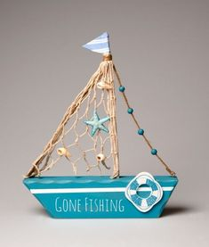 Gone Fishing Boat Decoration Sea Crafts, Diy And Crafts, Crafts For Kids, Paper Crafts, Painted Driftwood, Driftwood Crafts, Deco Marine, Craft Projects, Projects To Try