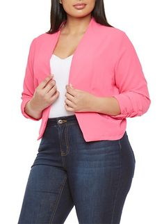 Plus Size Open Blazer with Ruched Sleeves