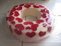 """Heart """"Broken Glass Jello"""" for Valentine's Day. You could do this with green shamrocks for St. Patrick's Day, maybe green Christmas trees and red circles for Christmas? Orange pumpkins and color the white jello black for Halloween? Endless possibilities."""