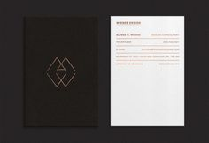 Duplex business card with a copper foil print finish and two different textured surfaces (to represent good quality upholstery) designed by Richard Baird for interior specialist Wieske Design.