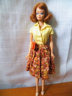 Vtg Mattel red hair Midge, Country Fair outfit 1964, 29 cm, Japan