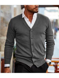 Men's Fashion Solid Color Button-knit Cardigan Cardigan En Maille, Knit Cardigan, Sweater Fashion, Men Sweater, Smart Casual Menswear, Best Mens Fashion, Fashion Top, Fashion Rings, Casual Wear For Men