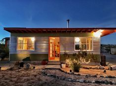 Entire home/apt in Joshua Tree, United States. The Original Joshua Tree Homsteader Cabin! Located in north Joshua Tree, enjoy the solitude and peace of the Western Frontier in style + modern ame. House Beds, My House, Desert Design, Off Grid Cabin, Desert Life, Getaway Cabins, Desert Homes, Prefab Homes, House Plans