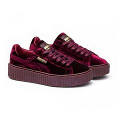 PUMA BY RIHANNA VELVET CREEPER BURGUNDY SHOES 364639-02 SZ US M 10 UK 9 d34fbd214