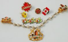 Canada + North Bay + Windsor + red/yellow/green maple leaf [sweater guard + brooch / pin]