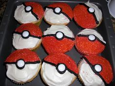 Pokemon Cupcakes, I choose you!  Vanilla (or any flavor) cupcakes with white frosting + red sprinkles + black piping frosting + white m&m candies. #StitchCake