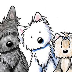 Artist signed ORIGINAL art drawing of a West Highland White Terrier, Scottish Terrier, Yorkshire Terrier, and a Wheaten Terrier dog by KiniArt Artist, Wheaten Terrier, Terrier Dogs, Pitbull Terrier, Animal Drawings, Cute Drawings, West Highland White Terrier, Yorkies, Doja Cat, Westies