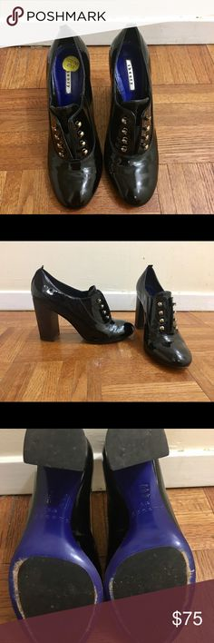 Theory shoes Black patent oxford shoes from Theory with blue soles. Condition is very good. Worn a few times. Theory Shoes Ankle Boots & Booties